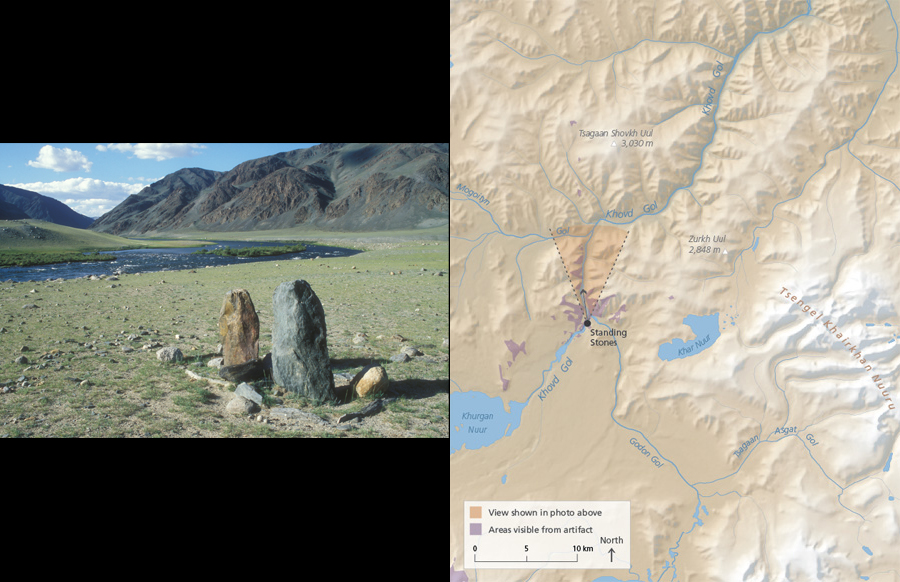 Two standing stones (height .97 and 1.18 m), right bank of Khovd Gol just above 		its confluence with Godon Gol. Bronze Age.